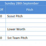 RWRFC Pitches and Fixtures Sunday 27th Sep