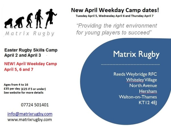 Matrix Rugby Easter Boot Camp With Extra dates Added